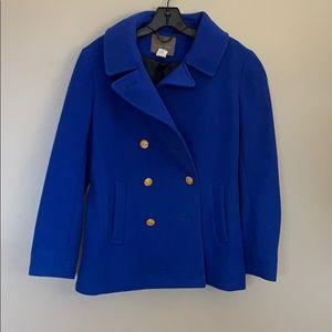 Bright blue pea coat